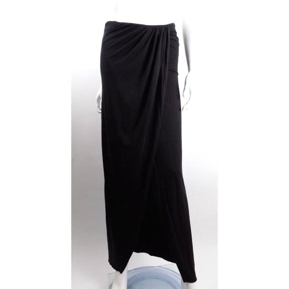 AllSaints Cara Black Maxi Skirt Draped Full Length 45cf8b9ba